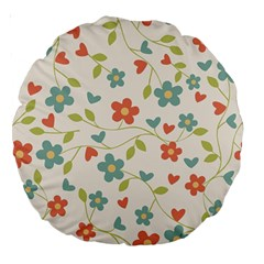 Abstract Vintage Flower Floral Pattern Large 18  Premium Round Cushions by Amaryn4rt