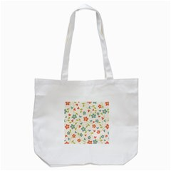 Abstract Vintage Flower Floral Pattern Tote Bag (white) by Amaryn4rt