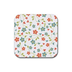Abstract Vintage Flower Floral Pattern Rubber Square Coaster (4 Pack)  by Amaryn4rt