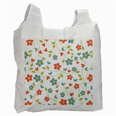 Abstract Vintage Flower Floral Pattern Recycle Bag (two Side)