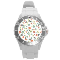 Abstract Vintage Flower Floral Pattern Round Plastic Sport Watch (l) by Amaryn4rt