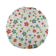 Abstract Vintage Flower Floral Pattern Standard 15  Premium Flano Round Cushions by Amaryn4rt