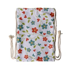 Abstract Vintage Flower Floral Pattern Drawstring Bag (small) by Amaryn4rt