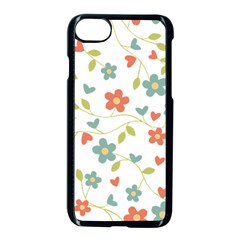 Abstract Vintage Flower Floral Pattern Apple Iphone 7 Seamless Case (black) by Amaryn4rt