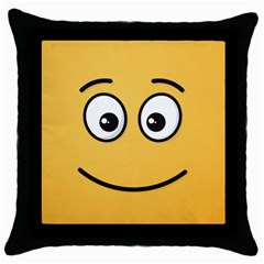 Smiling Face With Open Eyes Throw Pillow Case (black) by sifis