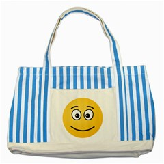 Smiling Face with Open Eyes Striped Blue Tote Bag by sifis
