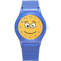 Smiling Face With Open Eyes Round Plastic Sport Watch (s) by sifis