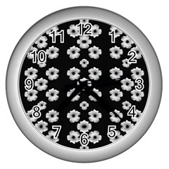 Dark Floral Wall Clocks (silver)  by dflcprints