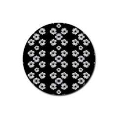 Dark Floral Rubber Coaster (round)  by dflcprints