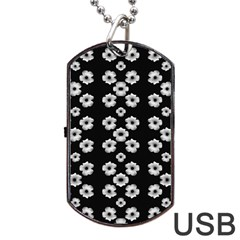 Dark Floral Dog Tag Usb Flash (two Sides) by dflcprints