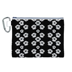 Dark Floral Canvas Cosmetic Bag (l) by dflcprints