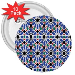 Background Pattern Geometric 3  Buttons (10 Pack)  by Amaryn4rt