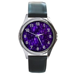 Bokeh Background Texture Stars Round Metal Watch
