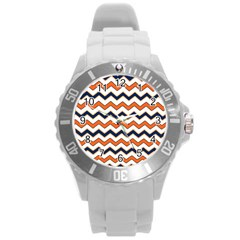 Chevron Party Pattern Stripes Round Plastic Sport Watch (l) by Amaryn4rt