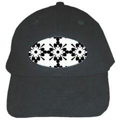 Floral Illustration Black And White Black Cap by Amaryn4rt