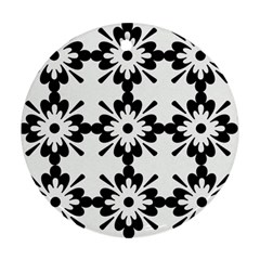 Floral Illustration Black And White Ornament (round) by Amaryn4rt