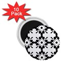 Floral Illustration Black And White 1.75  Magnets (10 pack)  Front