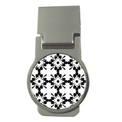 Floral Illustration Black And White Money Clips (round)  by Amaryn4rt