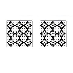 Floral Illustration Black And White Cufflinks (square) by Amaryn4rt