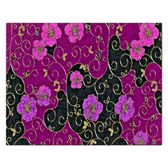 Floral Pattern Background Rectangular Jigsaw Puzzl by Amaryn4rt