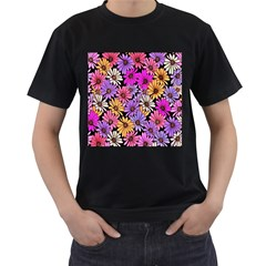 Floral Pattern Men s T Shirt (black) (two Sided) by Amaryn4rt