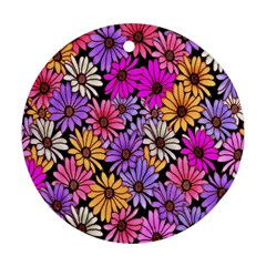 Floral Pattern Round Ornament (two Sides) by Amaryn4rt