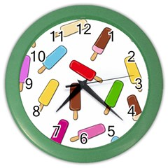 Ice Cream Pattern Color Wall Clocks by Valentinaart