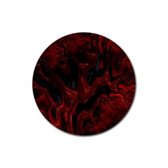 Fractal Red Black Glossy Pattern Decorative Rubber Coaster (round)  by Amaryn4rt