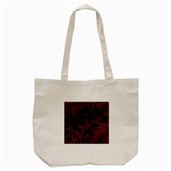 Fractal Red Black Glossy Pattern Decorative Tote Bag (cream) by Amaryn4rt