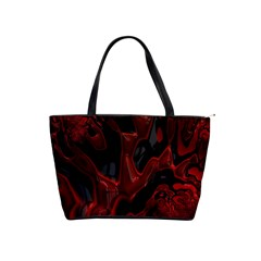 Fractal Red Black Glossy Pattern Decorative Shoulder Handbags by Amaryn4rt