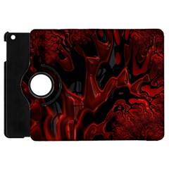 Fractal Red Black Glossy Pattern Decorative Apple Ipad Mini Flip 360 Case by Amaryn4rt