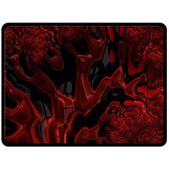 Fractal Red Black Glossy Pattern Decorative Double Sided Fleece Blanket (large)  by Amaryn4rt