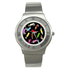 Decorative Ice Cream Pattern Stainless Steel Watch by Valentinaart