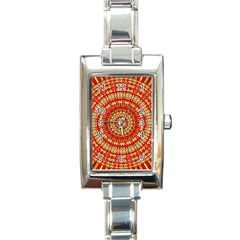 Gold And Red Mandala Rectangle Italian Charm Watch by Amaryn4rt