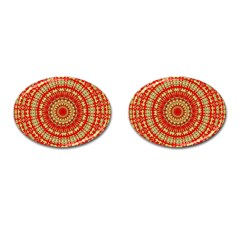 Gold And Red Mandala Cufflinks (oval) by Amaryn4rt