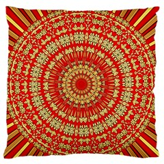 Gold And Red Mandala Large Flano Cushion Case (one Side) by Amaryn4rt