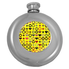 Heart Circle Star Seamless Pattern Round Hip Flask (5 Oz) by Amaryn4rt