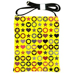 Heart Circle Star Seamless Pattern Shoulder Sling Bags by Amaryn4rt