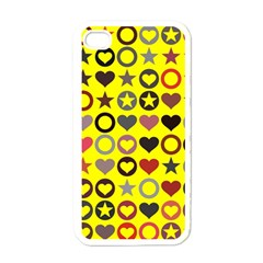 Heart Circle Star Seamless Pattern Apple Iphone 4 Case (white) by Amaryn4rt