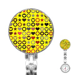 Heart Circle Star Seamless Pattern Stainless Steel Nurses Watch by Amaryn4rt