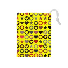 Heart Circle Star Seamless Pattern Drawstring Pouches (medium)  by Amaryn4rt