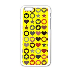 Heart Circle Star Seamless Pattern Apple Iphone 6/6s White Enamel Case by Amaryn4rt