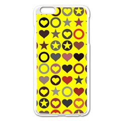 Heart Circle Star Seamless Pattern Apple Iphone 6 Plus/6s Plus Enamel White Case by Amaryn4rt