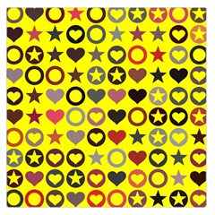 Heart Circle Star Seamless Pattern Large Satin Scarf (square) by Amaryn4rt
