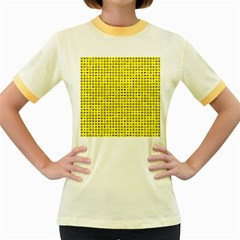 Heart Circle Star Seamless Pattern Women s Fitted Ringer T-Shirts by Amaryn4rt