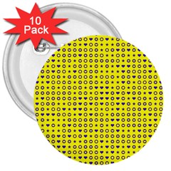 Heart Circle Star Seamless Pattern 3  Buttons (10 Pack)  by Amaryn4rt