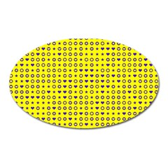 Heart Circle Star Seamless Pattern Oval Magnet by Amaryn4rt