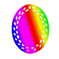 Multi Color Rainbow Background Ornament (oval Filigree) by Amaryn4rt