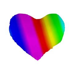 Multi Color Rainbow Background Standard 16  Premium Flano Heart Shape Cushions by Amaryn4rt