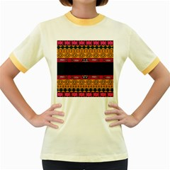 Pattern Ornaments Africa Safari Summer Graphic Women s Fitted Ringer T Shirts by Amaryn4rt
